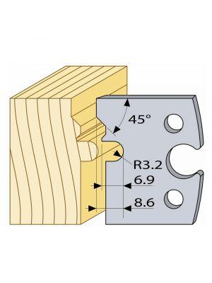 Logosol 40mm M2 HSS Profile Knives (4mm Pair) 3.3mm Male Panel